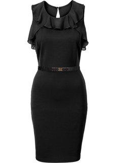 Трикотажное платье с шифоновыми воланами (темно-лиловый) Bonprix