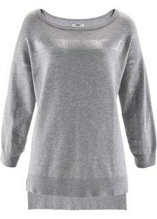 Пуловер с блестящей отделкой (цвет белой шерсти) Bonprix