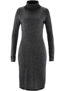 Вязаное платье с люрексом и длинным рукавом (серый меланж) Bonprix