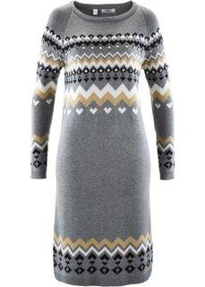 Вязаное платье (кремовый с узором) Bonprix