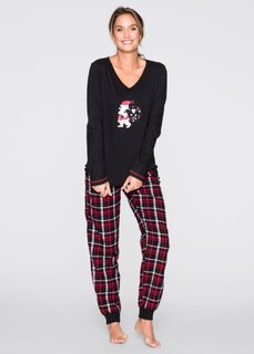 Пижама с фланелевыми брюками (черный/белый/красный с принтом) Bonprix