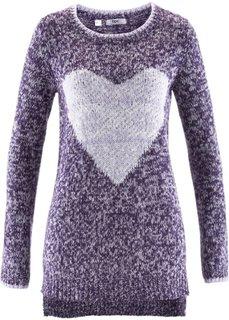 Пуловер с длинным рукавом (серый меланж/розовая пудра) Bonprix