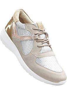 Кожаные кроссовки (розовый/серебристый) Bonprix