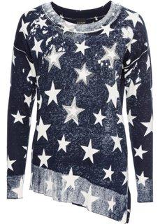 Пуловер с асимметричным нижним краем (серо-коричневый/белый с узором) Bonprix