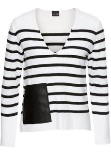 Полосатый пуловер с карманом из искусственной кожи (черный/белый в полоску) Bonprix