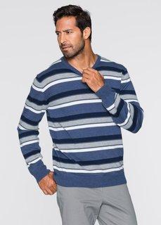 Пуловер Regular Fit в полоску (синий в полоску) Bonprix