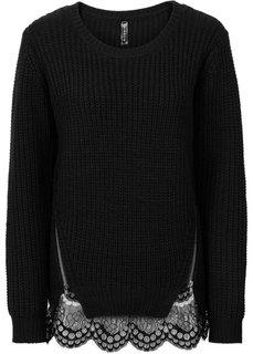 Пуловер крупной вязки с кружевной отделкой (темно-лиловый) Bonprix