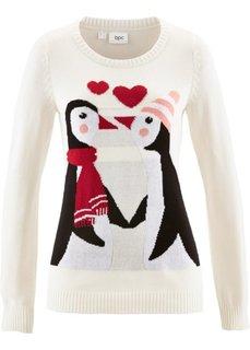 Пуловер с круглым вырезом (петролевый) Bonprix