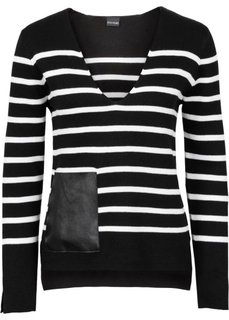 Полосатый пуловер с карманом из искусственной кожи (светло-серый меланж/черный в п) Bonprix
