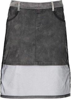 Джинсовая юбка с тюлем (серый) Bonprix