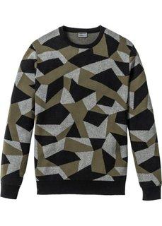 Пуловер Slim Fit (синий с узором) Bonprix
