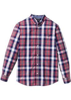 Рубашка Regular Fit с длинным рукавом (сине-зеленый в клетку) Bonprix