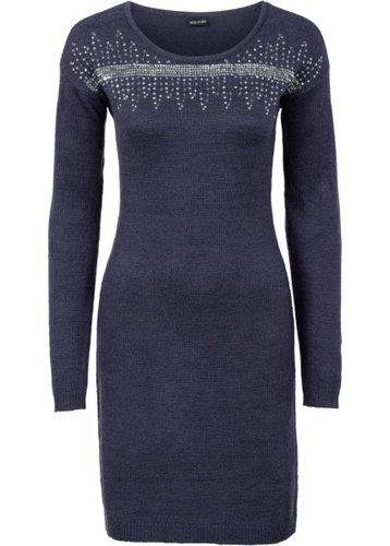 Вязаное платье с аппликацией пайетками (черный/серебристый)