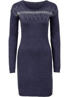 Вязаное платье с аппликацией пайетками (черный/серебристый) Bonprix