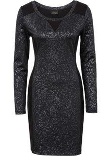 Трикотажное платье в смеси материалов (серебристый) Bonprix