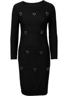 Вязаное платье с аппликацией (светло-серый меланж) Bonprix