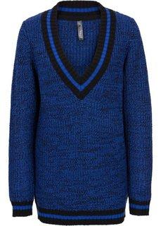Пуловер в стиле оверсайз (серый меланж/черный) Bonprix