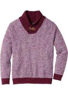 Пуловер Regular Fit с шалевым воротом (серый) Bonprix