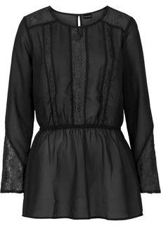 Шифоновая блузка с кружевными деталями (кремовый) Bonprix