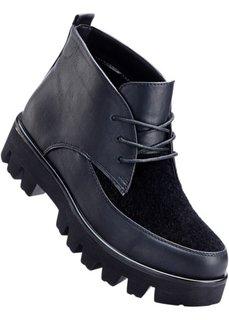 Ботинки на платформе и шнурках (черный/леопардовый) Bonprix
