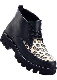 Ботинки на платформе и шнурках (черный) Bonprix