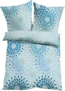 Постельное белье Мари, линон (серый/синий) Bonprix