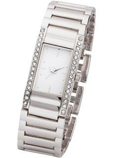 Часы на металлическом браслете со стразами (розово-золотистый) Bonprix