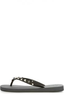 Резиновые шлепанцы с заклепками Giuseppe Zanotti Design