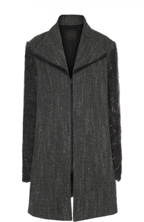 Шерстяное пальто прямого кроя на молнии Lost&Found Lost&Found
