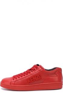 Кожаные кеды на шнуровке с логотипом бренда Kenzo