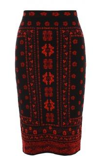 Вязаная юбка-карандаш с ярким принтом Alexander McQueen