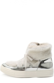 Высокие кожаные кеды с внутренней отделкой из натурального меха Simonetta