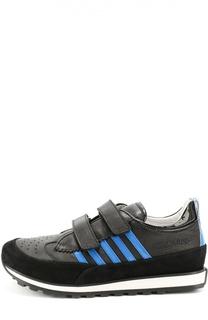 Кожаные кроссовки с застежкой велькро Dsquared2