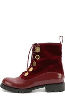 Высокие комбинированные ботинки на рифленой подошве Alexander McQueen
