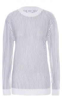 Пуловер свободного кроя в полоску DKNY
