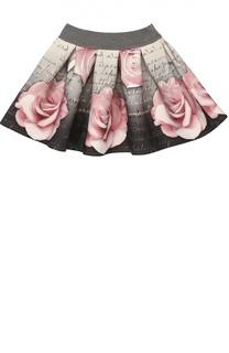 Расклешенная юбка из неопрена с принтом Monnalisa