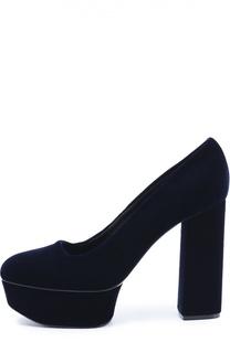 Бархатные туфли на устойчивом каблуке и платформе Casadei