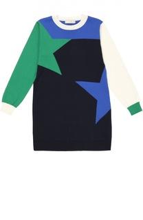 Платье с геометрическим принтом из смеси хлопка и кашемира Stella McCartney