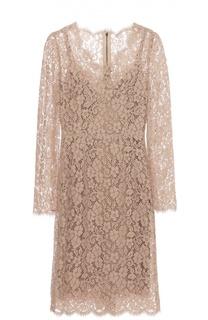 Приталенное кружевное платье с длинным рукавом Dolce & Gabbana