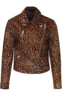 Укороченная куртка со звериным принтом и косой молнией Isabel Marant