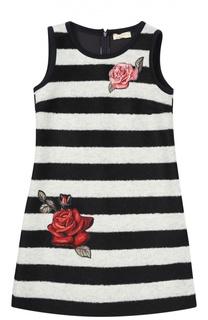 Платье в полоску с аппликациями Monnalisa