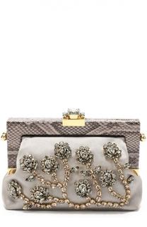 Клатч Vanda с кристаллами и отделкой из кожи питона Dolce  amp  Gabbana 882b0d8fb32
