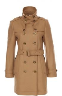 Двубортное пальто с погонами и поясом Burberry Brit