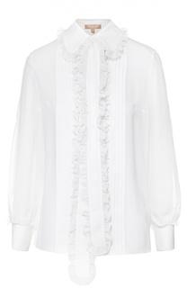 Шелковая полупрозрачная блуза с воротником-аскот и оборками Michael Kors