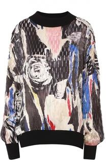 Пуловер свободного кроя с принтом и контрастными манжетами DKNY