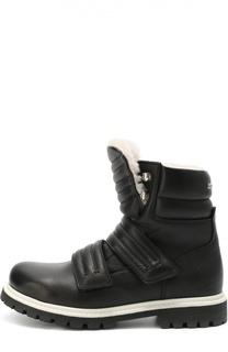 Высокие кожаные ботинки с внутренней отделкой из натуральной овчины Dsquared2