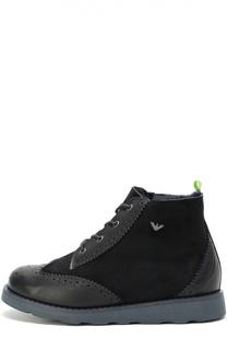 Замшевые ботинки с внутренней отделкой из натуральной овчины Giorgio Armani