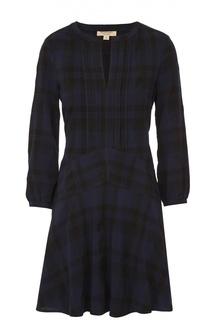 Приталенное мини-платье в клетку с укороченным рукавом Burberry Brit
