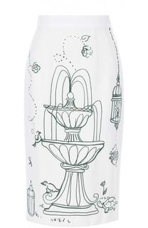 Юбка-карандаш с контрастным принтом Dolce & Gabbana