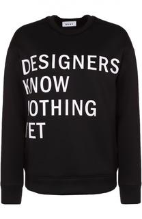 Свитшот свободного кроя с контрастной надписью DKNY